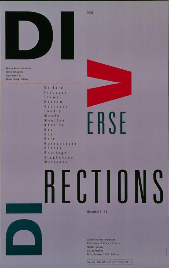 Tricia Hennessey (Kalamazoo, Michigan) Diverse Direction - Women Faculty Exhibition poster, 1990 h/t @garadinervi